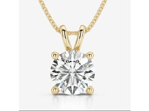 Genuine 1/2 Carat Natural Solitaire Round Cut Diamond 4 Prong Pendant Necklace In 14K Yellow Gold