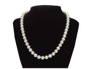 Genuine 8.5-9mm White Freshwater Cultured Round Pearl 17 Inch Necklace In 925 Sterling Silver
