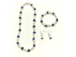 Genuine 6-7mm Freshwater Cultured Baroque Rice Blue with Round Pearl Set In 925 Sterling Silver
