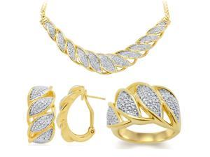 Genuine 0.20 Ctw Natural Diamond Accent Necklace, Earrings and Ring Set In 14K Yellow Gold Plated.