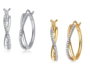 Elegant 0.01 Cttw Natural Diamond Accent Twisted Hoop Earrings In Two Colors Sets Crafted In 14K Gold Plated.