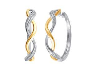 Genuine  0.02 Carat Natural Diamond Accent  Two Tone Twisted Hoop Earrings  In 14K White Gold Plated