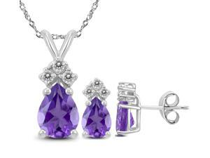 Genuine Natural 4.90 Carat Natural Pear Shaped 9x7mm Amethyst & White Topaz Set In 925 Sterling Silver.