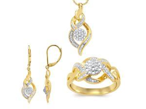 Genuine 0.10 Ctw Natural Diamond Accent Twisted Necklace,Earrings and Ring Set In 14K Yellow Gold Plated.