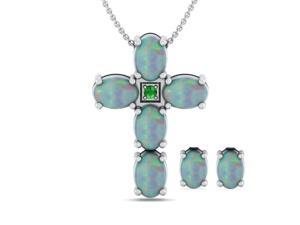 Genuine 4.25 Carat Oval Shaped Natural Opal Necklace & Earrings Set In 925 Sterling Silver