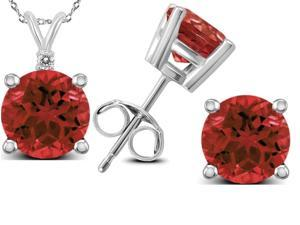 Genuine 4.70  Carat Natural 7mm  Round Shaped Garnet with White Topaz Necklace & Earrings  In 925 Sterling Silver