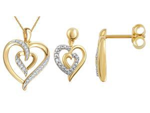 Genuine 0.03 Ctw Natural Diamond Accent Heart Shaped Necklace and Earrings Set In 14K Yellow Gold Plated