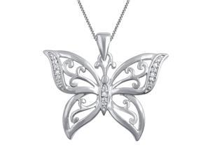 Genuine 0.02 Ctw Natural Diamond Accent Butterfly Shaped Necklace In 14K White Gold Plated.