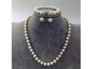 Genuine 9.5-10mm White Freshwater Cultured Round Pearl Set In 925 Sterling Silver