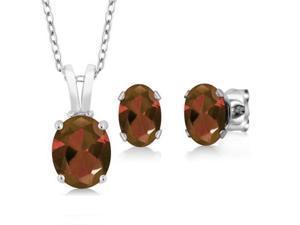 Elegant Oval Shaped 1.55 Carat Rhodolite Gemstone Sun Garnet Set  In 925 Sterling Silver