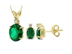 Genuine Luxurious 2.79 Cttw Oval Shaped Emerald & Diamond (G-H, I1-I2) Earring and Necklace Set In 14K Yellow Gold