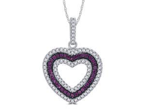 Genuine 0.25 Carat Created Ruby and Cubic Zirconia  Heart Shaped Necklace In 925 Sterling Silver.