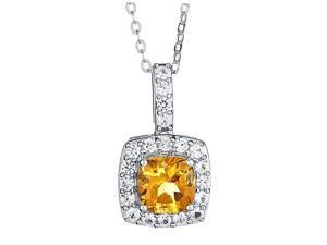 Genuine 1.00 Carat 7mm Created Cushion Shaped Citrine with White Sapphire Necklace In 925 Sterling Silver.