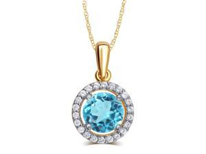 Elegant 0.38 Carat Created Blue Topaz & White Sapphire Gemstone Necklace In 14K Yellow Gold Plated