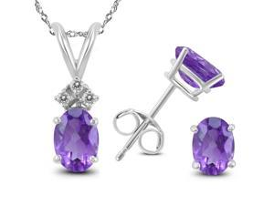 Genuine 2.42  Carat Natural 7x5mm Oval Shaped Amethyst with White Topaz Necklace & Earrings Set In 925 Sterling Silver