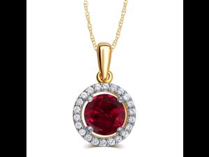 Elegant 0.38 Carat Created Garnet & White Sapphire Gemstone Necklace In 14K Yellow Gold Plated