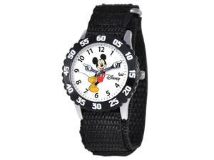 Disney Boy's Mickey Mouse Articulating Hands Stainless S - Black Nylon Strap