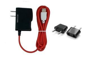 smavco bundle AC to DC Wall Travel Home Power Charger Adapter for NABi Jr and NABi XD Tablets with 6.5 Feet (2 Meter) Long Cord and Universal Europe Adapter Plug (Red)