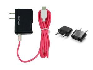 smavco bundle AC to DC Wall Travel Home Power Charger Adapter for NABi Jr and NABi XD Tablets with 6.5 Feet (2 Meter) Long Cord and Universal Europe Adapter Plug (Pink)