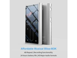 FiiO M3K Mini HiFi Metal Shell MP3 Player for Kids with Digital Voice Recorder,24 Hours Playback and Expandable Up to 512GB with Independent Lock & Volume Control,Silver
