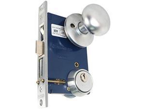 """Marks 22AC LHR Satin Chrome Finish Double Cylinder Iron Gate Ornamental Mortise Lockset with 2-1/2"""" Backset"""