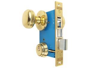 "Maxtech RHR (Like Marks 22AC/3-W-RHR) Polished Brass Finish Right Hand Reverse Double Cylinder Iron Gate Ornamental Mortise Lockset with 2-1/2"" Backset"