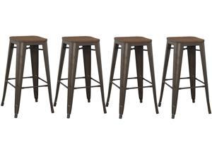 BTEXPERT® Modern 30 inch Solid Steel Stacking Industrial Tabouret Rustic Metal Bar Stool with Wood Top (set of 4 barstool)