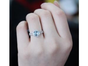 Beautiful 2-Ring -Set 7mm Round Cut Aquamarine Ring Diamonds14K White Gold Wedding Engagement Anniversary Ring