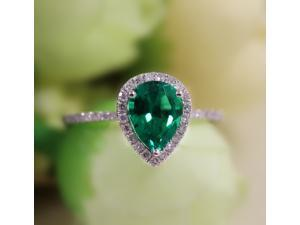Pear Emerald Ring Set Halo Pear Cut Emerald Ring & 14K White Gold Wedding Band Engagement Ring/ Promise Wedding Ring/ Anniversary Ring