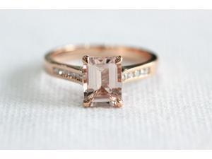 Prongs Emerald Cut Morganite Channel Set Diamonds 14K Rose Gold Engagement Ring