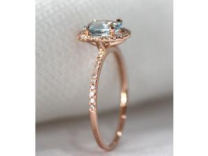 6x8mm Aquamarine Pave Diamonds Aquamarine ring Aquamarine engagement ring/Aquamarine wedding ring/Aquamarine band/rose gold wedding ring
