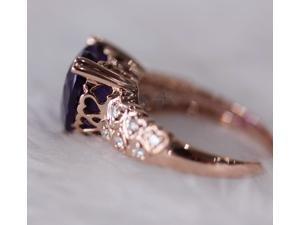 Heart Shaped Dark Purple Amethyst Diamonds 5.45ct 14k White Gold Engagement Ring