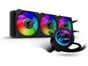 GIGABYTE AORUS RGB AIO Liquid Cooler 360, 360mm Radiator, Triple 120mm Windforce PWM Fans, Customizable Full Color LCD Display, Advanced RGB Lighting and Control, Intel 115X/2066, AMD AM4, TR4