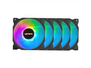 upHere RGB Case Fans, 5 Pack 120mm Quiet Computer Cooling PC Fans, Remote Controller, Colorful Cooler,C8123-5