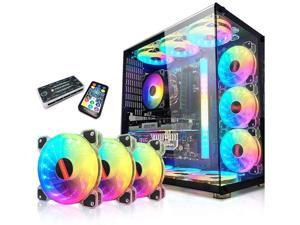 WQAZ RGB Fan 12cm Case Fan Mute Transparent Computer Fan, Computer Chassis Cooling Fan (Size : 6 Fans)