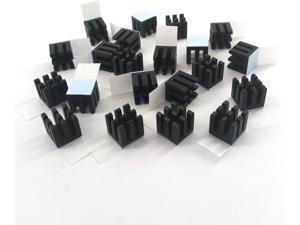 Easycargo 20pcs 10mm Heatsink Kit + pre Applied 3M 8810 Thermal Conductive Adhesive Tape, Cooler Heat Sink Set for Cooling GPU IC Chips VRAM VGA RAM (20pcs 10x10x10mm Black)