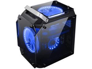 Wecnday-Home High Airflow Tempered Glass ATX Computer Case Water Cool Air Cool PC Case with 200mm Cooling Fan PC Case Cooling (Color : Blue, Size : One Size)