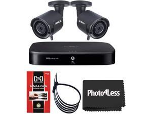 Lorex HD 1080p Outdoor Wireless Security Cameras+ Lorex 1080p HD Analog Security DVR+ 60 Hosa Label A Cable Kit Peel Off Labels+ 2 Packs of 5 Black Zip Ties (2 Lorex Cameras)