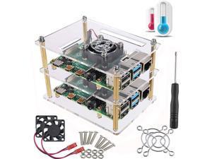 Dorhea Case for Raspberry Pi 4 B Pi Rack Cluster Case with Cooling Fan for Raspberry Pi 3 Model B+, Compatible with Raspberry Pi 3 Model B, Raspberry Pi 2 Model B,Pi B+ (2-Layers)