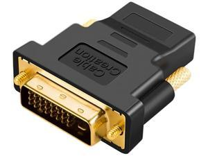 CableCreation DVI to HDMI Adapter, Bi-Directional DVI Male to HDMI Female Converter, Support 1080P, 3D for PS5,PS4,TV Box,Blu-ray,Projector,HDTV