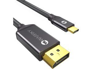 USB C to DisplayPort Cable 10ft(4K@60Hz 2K@165Hz 2K@144Hz) WARRKY [24K Gold-Plated Slim Aluminum Shell] Thunderbolt 3 to DP Cable Compatible with MacBook Pro/Air iPad Pro XPS 15/13 & More