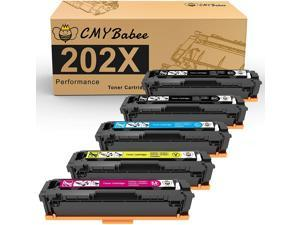 CMYBabee Compatible Toner Cartridges Replacement for HP 202X HP CF500X for HP Laserjet Pro M281fdw M281cdw M254dw M254dn M254nw M281dw MFP M281fdn M281 M254 (2 Black, Cyan Magenta Yellow, 5-Pack)