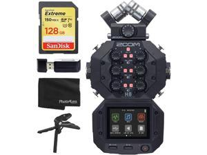 Zoom H8 8-Input / 12-Track Portable Handy Recorder For Podcasting, Music, Field Recording + 128GB Memory Card + SD Card Reader + Table Tripod Hand Grip – Top Value Accessory Bundle