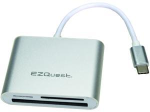 EZQuest USB-C Card Reader, Aluminum, Simultaneous Read and Write, for MacBook, MacBook Pro, MacBook Air, and Other Devices with USB-C Ports
