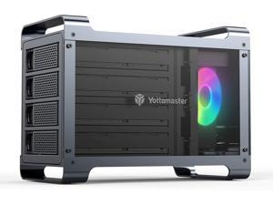 """Yottamaster 4 Bay Hard Drive Enclosure,Aluminum Alloy 2.5""""& 3.5"""" SATA HDD/SSD External HDD SSD Storage Enclosure with 80mm RGB Silent Fan,Supports 4X16TB Capacity for PC DIY Experts&Gamers [DF4U3]"""