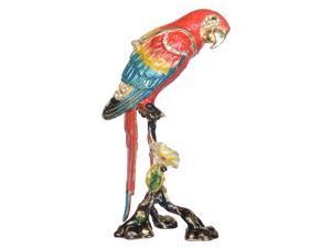 Macaw Parrot Trinket Box Enameled Jewelry Box Bird Figurine Tabletop Ornament Gifts