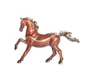 Arabian Horse Enameled Pewter Jeweled Trinket Box Keepsake Box Pill Box Horse Figurine Gifts