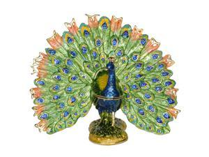 Green Fanned Peacock Trinket Jewelry Box Peacock Decoration Miniature Novelty Gifts