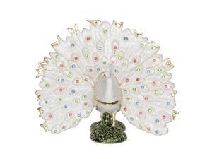 White Fanned Peacock Trinket Jewelry Box Peacock Decoration Miniature Novelty Gifts