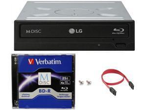 LG 14x WH14NS40 Internal Blu-ray Burner + 25GB Verbatim M-Disc BD-R + SATA Cable